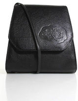 Carlos Falchi Black Leather Embossed Logo Small Satchel Handbag