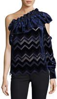 Self-Portrait One-Shoulder Zigzag Embroidered Velvet Top