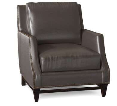 """Thumbnail for your product : Bradington-Young Madigan 32"""" Wide Genuine Leather Club Chair Body Fabric: Aline Light Grey 5728, Leg Color: New Classiques, Nailhead Detail: #9 Natura"""