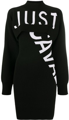 Just Cavalli Intarsia-Knit Logo Dress