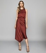 Reiss Aspen - Satin Slip Skirt in Red