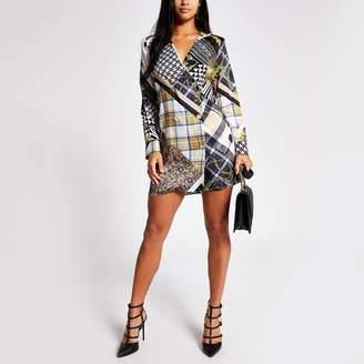 River Island Womens Petite Brown printed long sleeve tux dress