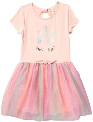 Btween Unicorn Print Bow Back Front Tie Dress (Little Girls & Big Girls)