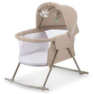BEIGE Kinderkraft Baby Crib 3 in 1 LOVI, Cradle, Travel Cot, Rocker, Easy Folding and Unfolding, Adjustable Canopy, with Accessories, Mattress Cover, Included Toys, Transport Bag, for Newborn, 0-9 kg,
