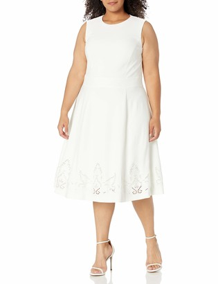Calvin Klein Women's Size Sleeveless Floral Embroidered Fit and Flare Dress