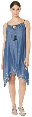 Tommy Bahama Chambray All Day Embroidered Dress (Dark Wash) Women's Clothing