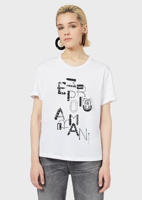 Emporio Armani Jersey T-Shirt With Studded, Sequinned Logo