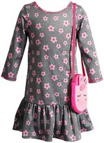 Youngland Toddler Girl Floral Dress with Crossbody Applique Purse