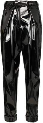 Balmain high-rise vinyl trousers