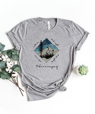 Simply Sage Market Women's Tee Shirts Grey - Gray & Multicolor 'Take Me Camping' Crewneck Tee - Women