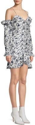 Robert Rodriguez Carmen Ruched Cold-Shoulder Mini Dress