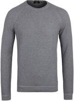 Boss Llian Grey Crew Neck Waffle Knit Sweater