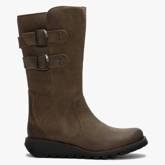 Fly London Suli Tan Leather Low Wedge Calf Boots