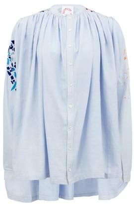 Kilometre Paris - Majorca-embroidered Gathered Cotton Shirt - Womens - Blue Multi