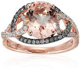 14k Rose Gold Morganite And Brown Diamond Swirl Shank Halo Engagement Ring (1/2 cttw, H-I Color, I1-I2 Clarity), Size 7