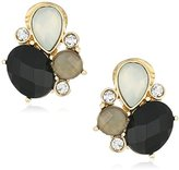 Anne Klein Gold-Tone Jet Multicolored Button Clip-On Earrings