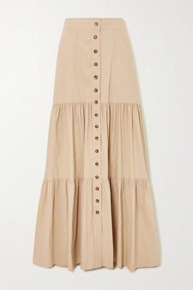 A.L.C. X Petra Flannery Inez Tiered Linen-blend Maxi Skirt - Sand