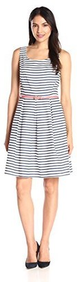 Tiana B T I A N A B. Women's Striped Woven Fit and Flare Dress. Cf/Princess Seams and Pleated Skirt