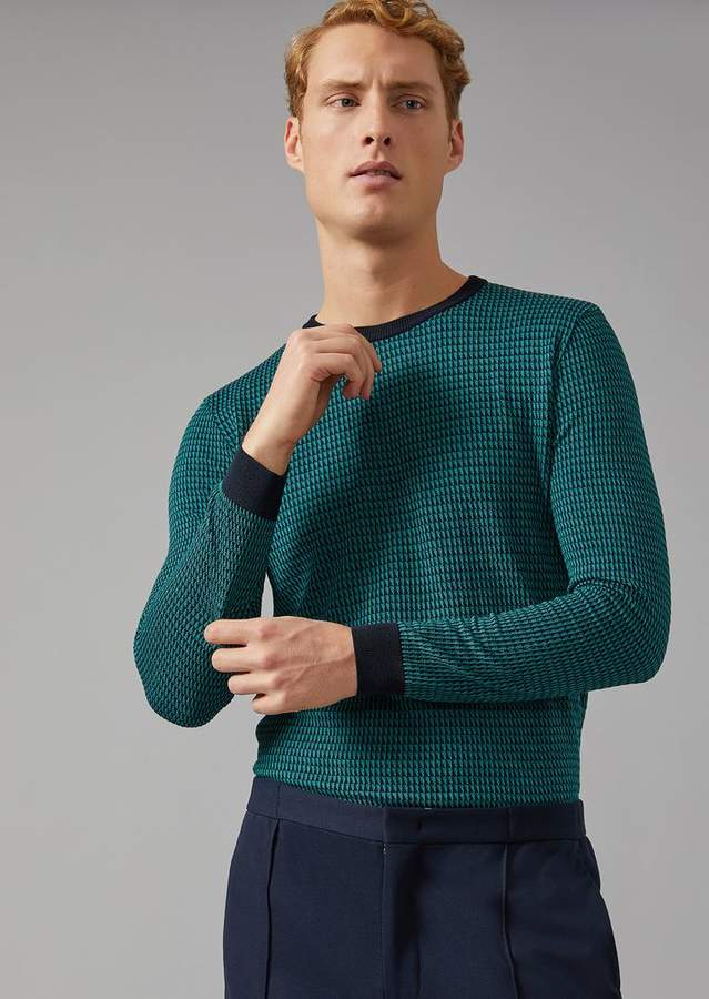 Giorgio Armani Sweater In Jacquard Silk Blend