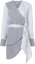 Tome asymmetric wrap striped blouse