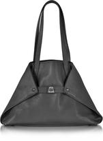 Akris Ai Small Black Leather Tote Bag
