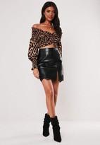 Missguided Black Faux Leather Eyelash Lace Mini Skirt