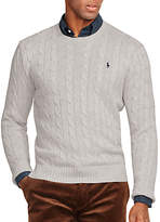 Polo Ralph Lauren Cable Knit Crew Neck Jumper, Light Grey Heather