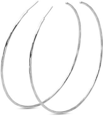 Eva Remenyi Hammered Thin Circle Hoops 5.5Cm -Silver