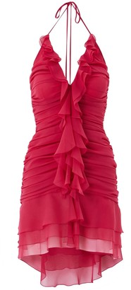Blumarine Silk Chiffon Mini Dress W/Ruffles