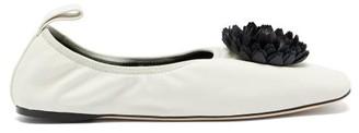 Loewe Flower-applique Leather Ballet Flats - White Black