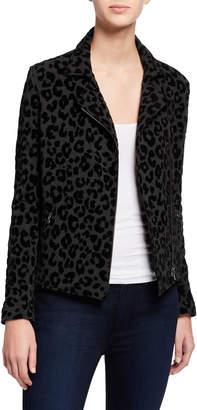 Majestic Filatures Leopard-Print Moto Jacket