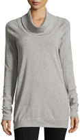 Three Dots Funnel-Neck Cotton Tunic, Light Gray