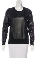 Helmut Lang Leather-Accented Wool Sweatshirt