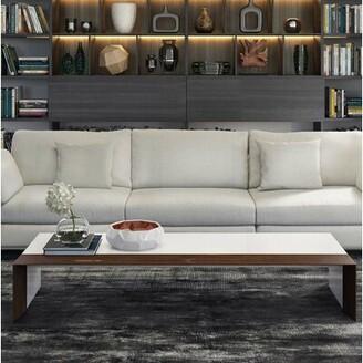 Modloft Black Sled Coffee Table Color: White Lacquer / Walnut