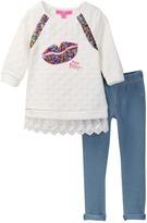 Betsey Johnson Sequin Lip Lace Trim Top & Knit Legging Set (Little Girls)