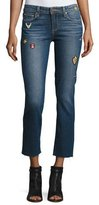 Paige Jacqueline Patch Straight-Leg Jeans with Raw Hem, Arvin
