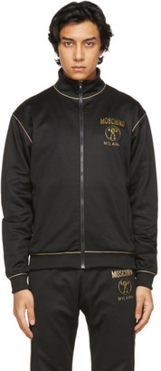 Moschino Black and Gold Double Question Mark Zip-Up Sweatshirt