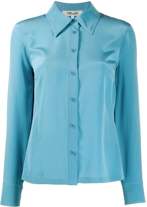 Diane von Furstenberg Long Sleeve Button Down Silk Shirt