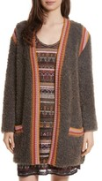 M Missoni Women's Crochet Trim Fuzzy Knit Jacket