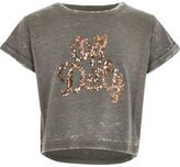 River Island Girls Khaki sequin off duty T-shirt