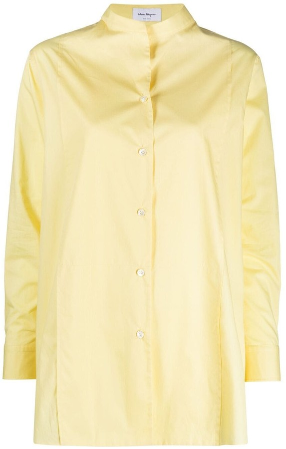 Salvatore Ferragamo Mandarin-Collar Oversized Shirt