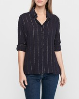 Express Metallic Stripe Clip Dot Button Up Shirt