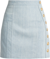 Balmain Side-button stretch-denim mini skirt