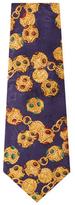 Chanel Vintage Purple Jeweled Silk Jacquard Tie