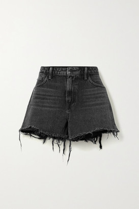 Alexander Wang Bite Frayed Denim Shorts - Dark gray