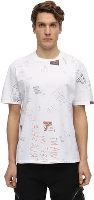Huge All Over Sketch Print Jersey T-Shirt