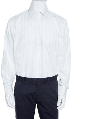 Balmain Off White Striped Cotton Long Sleeve Button Front Two Ply Shirt L