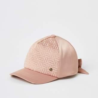 River Island Mini girls Pink RI monogram satin cap