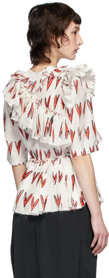 Thumbnail for your product : Charles Jeffrey Loverboy White & Red Silk Rofl Heart Print Blouse