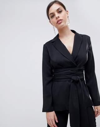 Asos Design DESIGN Soft Wrap Tie Waist Blazer-Black